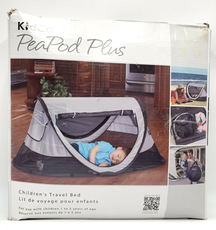 "NEW - KIDCO Peapod Plus Travel Play Bed Tent Color: Gray 52"" x 34"" EXTRA LARGE"