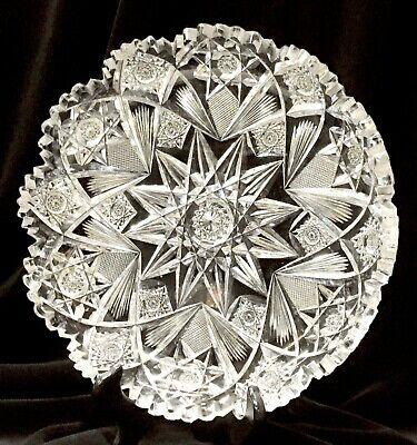 19 c Signed Hawkes American Brilliant Period Crystal Cut Glass Dish