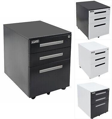 3-drawer Rolling Mobile File Cabinet Lock Storage Steel Metal Office Home