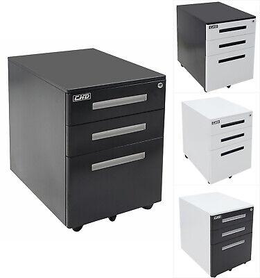 3-drawer Rolling Mobile File Cabinet Lock Storage Steel Metal Office Home