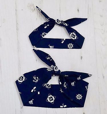 Matching Mum & Baby Head Scarf - Blue Nautical Anchor Sailor Bandana Gift Set