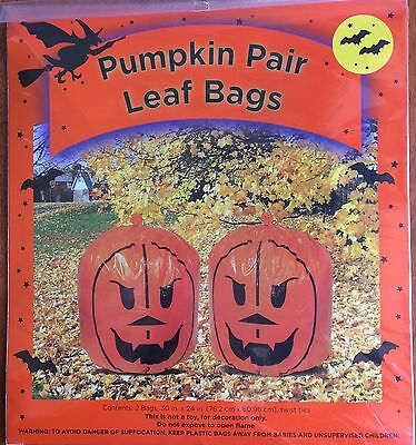 Halloween Pumpkin Pair of Leaf Bags 30 x 24 NEW