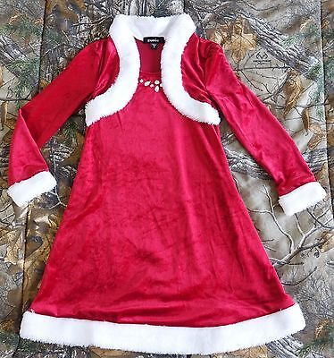 Zunie Girls' red Velvet Santa Dress with white Faux Fur Shrug and Jewels,Size 6 - Girls Velvet Shrug