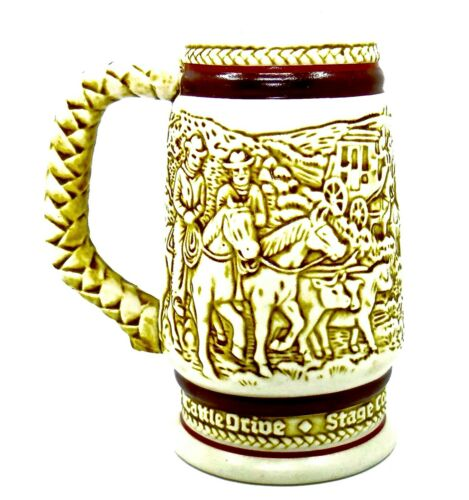 Vintage Avon Beer Mug,Old West Pictures,1983 Numbered,Made in Brazil