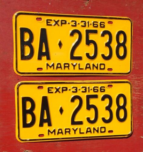 1966 Maryland Nice Original PAIR  BA-2538  License Plates