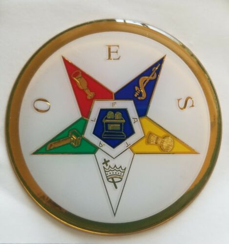 Order of Eastern Star Auto Emblem Made in USA Round Vinyl Decal OES