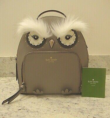 NWT KATE SPADE Owl Tomi Star Bright Citiscape Grey Mini Backpack Purse Handbag