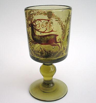 Waldglas   Replika   Gotisches Glas mit Druckbildern dekorativ