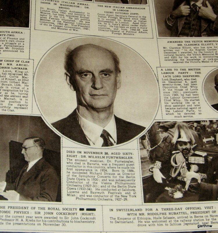 CONDUCTOR WILHELM FURTWANGLER 1954 DEATH ANNOUNCEMENT PHOTO FEATURE
