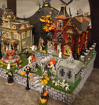 Halloween Display Platform Base for Dept 56 Snow Village Lemax Spooky Town 3pcs (Halloween Village Display Base)