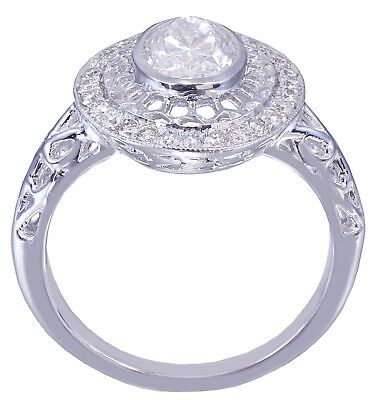 GIA G-VS2 14k White Gold Oval Cut  Diamond Engagement Ring Bezel Deco 1.25CTW