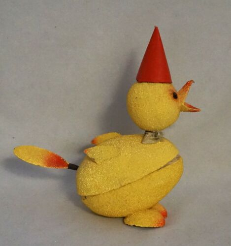 """Vintage Paper Mache Easter Chick 7.5"""" Bobblehead & Tail Candy Container,Germany"""