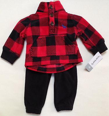 NWT CARTER'S 2 PIECE JACKET/SWEAT PANTS BLACK/RED PLAID SET SIZE NEWBORN $24
