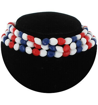 Beaded Tight 3 Row Choker Necklace Plastic Multicolor Patriotic