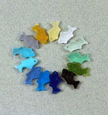 Fish Pendant Charm Beads, YOU PICK COLOR, Frosted Matte Sea Glass Finish, 2 Pcs