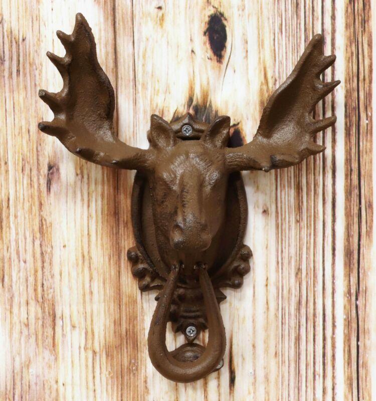 "Rustic Western Forest Horned Bull Moose Deer Head Cast Iron Door Knocker 10""High"