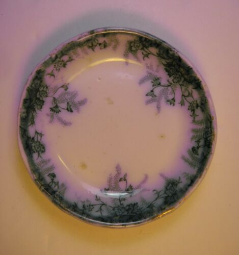 Antique Milton Wood & Son England Semi-Porcelain Flow Blue Butter Pat Dish Plate
