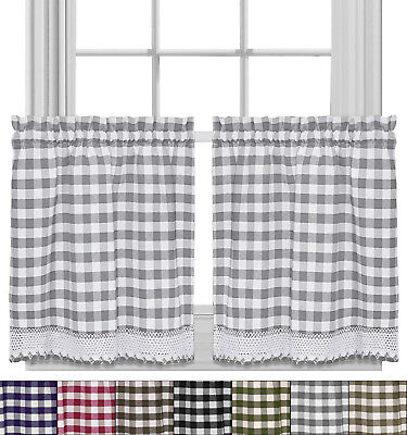 - Buffalo Check Gingham Kitchen Curtain Tier Pair - 24