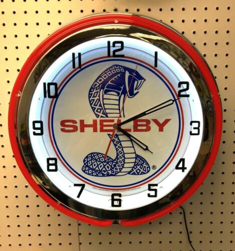 """18"""" Red SHELBY Snake Double Neon Chrome Clock Cobra Mustang GT 350 GT500"""