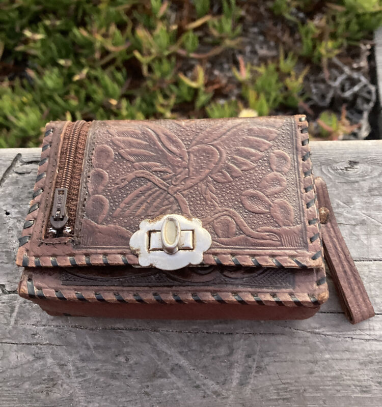 Old Mexican Embossed Pocket Purse Coin Case Wallet w/Mirror Brown Leather