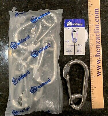 WICHARD 2317 316L STAINLESS STEEL CARBINE SNAP HOOK 2-317 2317 (LOT of 5) Wichard Stainless Steel