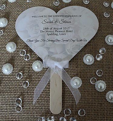 Personalised Hand Fan Wedding Favour Rustic Vintage Activity Pack Program ](Wedding Program Fans)