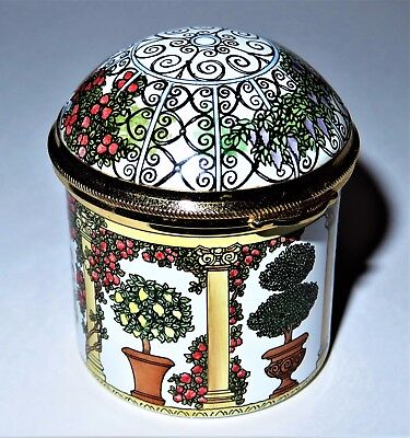 STAFFORDSHIRE ENAMELS BOX - DOMED GARDEN GAZEBO - POTTED PLANTS & -