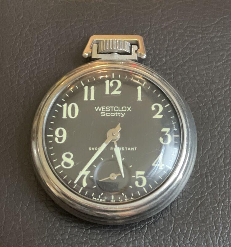 """WESTCLOX """"SCOTTY"""" Bintage Black Dial Wind Up Pocket Watch WORKS! Luminous Glows"""