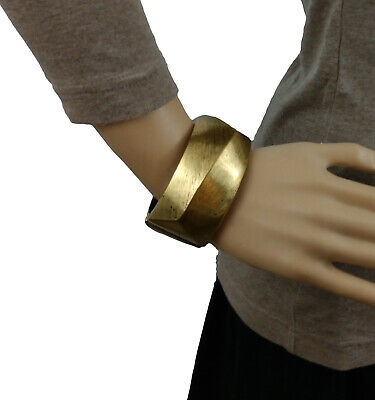 Chicos Kali Braclet Antiqued Gold Brass Tone Chunky Wide Cla