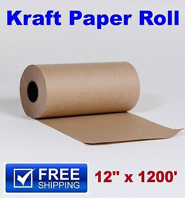 12 X 1200 Brown Kraft Paper Roll 30 Lb Shipping Wrapping Parts Boxes Packaging