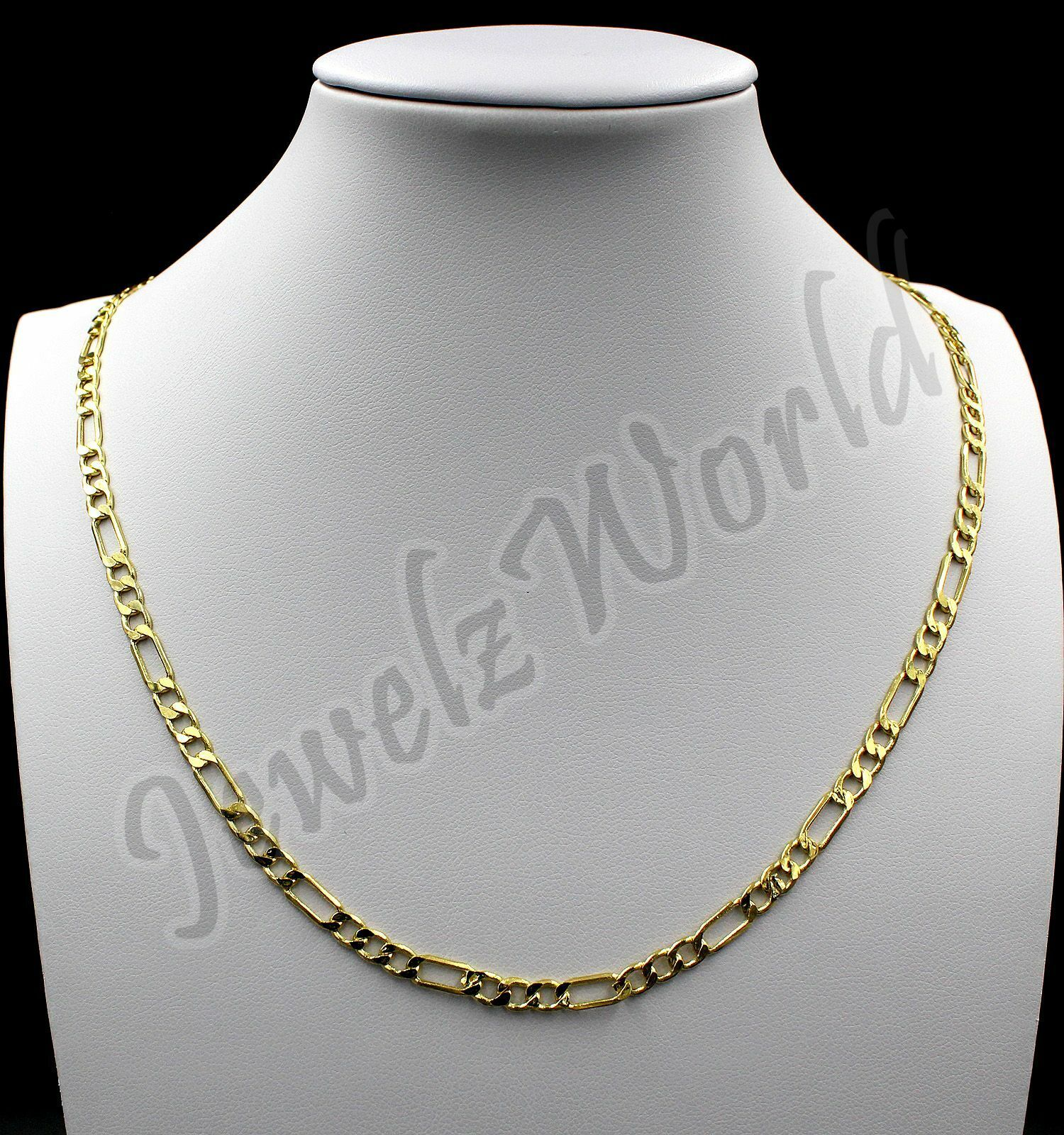 """10K Solid Yellow Gold Rope Figaro Cuban Link Chain Necklace 16""""- 30"""" Mens Womens 3"""