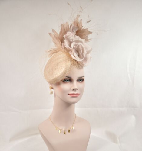 Sinamay w Jumbo Silk Flower Goose and Rooster Feather Flowers Fascinator Hat