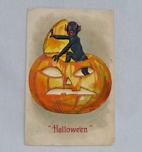Vintage Halloween Postcard Black Boy -  80649