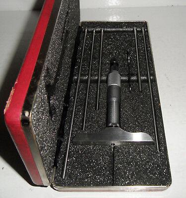 Vg Complete Starrett 445 Depth Micrometer 0-6 .001 Graduation Ratchet Thimble