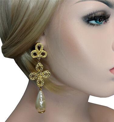 Baroque Faux Pearl Gold Tone Pierced Earrings