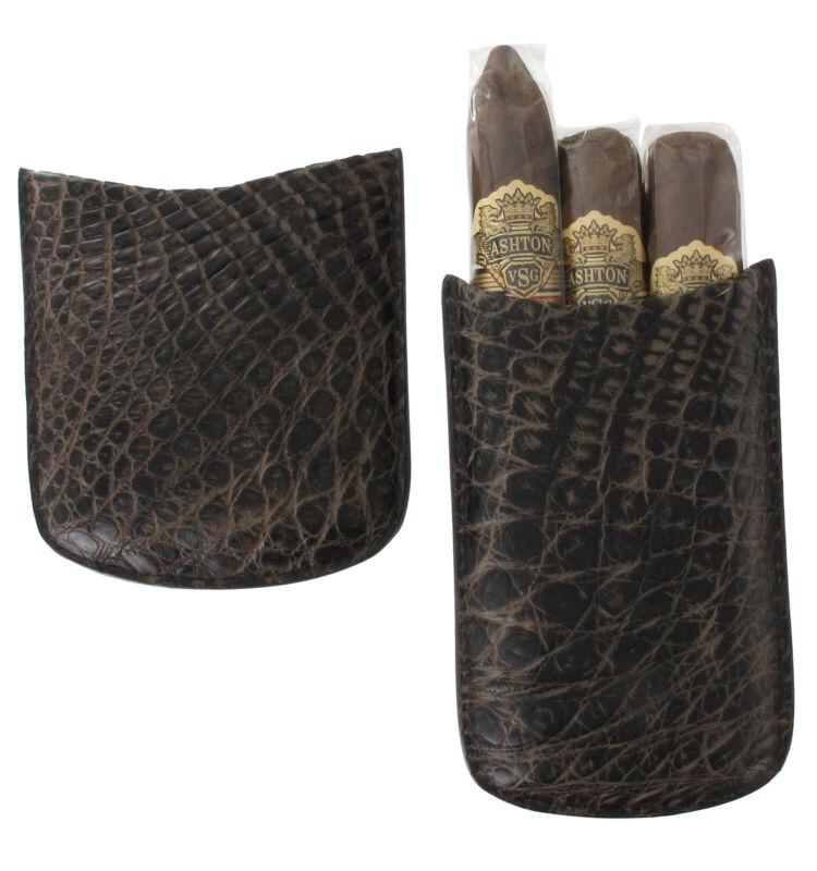 """Tampa Fuego Dark Brown Cigar Case Genuine Vintage Crocodile Robusto 5 3/4"""""""