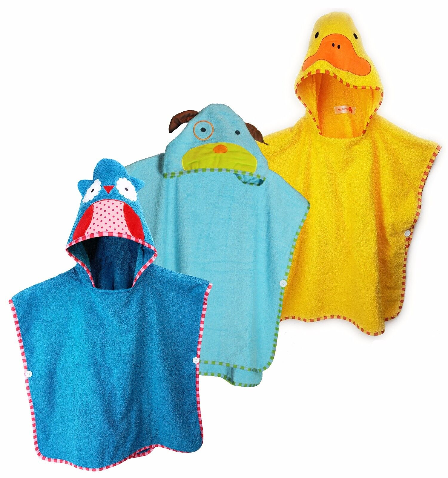 Schlupfi® Badeponcho Kinder, Handtuch Baby (Jungen & Mädchen) -100% Baumwolle