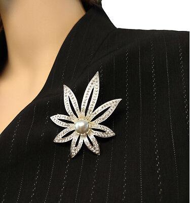 Large Leaf Pin - Napier Large Leaf Silver Tone Rhinestone Pin Brooch Grey Faux Pearl