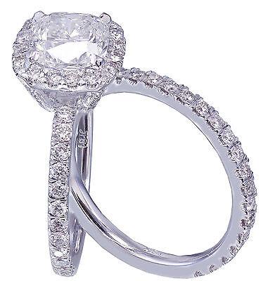 GIA G-VS2 18k White Gold Cushion Cut Diamond Engagement Ring And Band Halo 2.30c 7