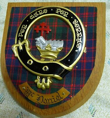 Vintage oak plaque with Crest of McDaniel/Macdonald, made in Scotland, used