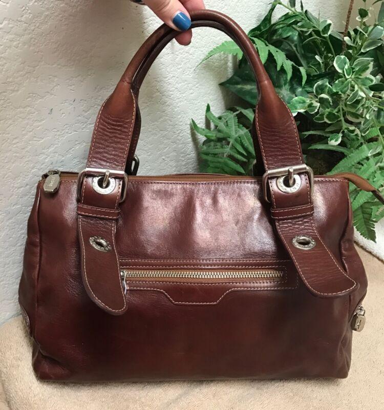 PRUNE Argentina Brown Leather Shoulder Handbag Satchel Bag Large VGC