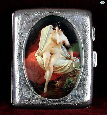 1930s British Antique Silver Erotic Lady in Bed Pictorial Enamel Cigarette Case