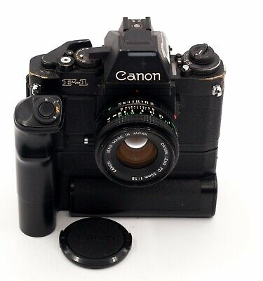 CANON F1N 35mm FILM SLR CAMERA WITH AE MOTOR DRIVE FN & 50mm F/1.8 LENS