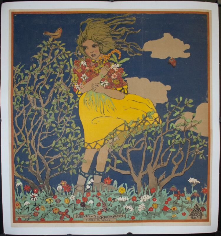 c. 1920 Berta Zuckermann Franz Cizek Poster Vintage Original