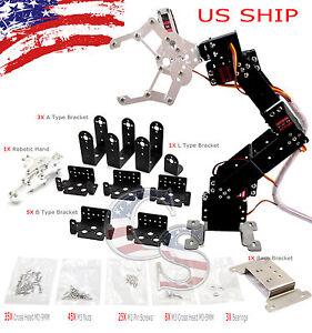 R4 6 Axis DIY Kit Mechanical Robotic Arm Clamp Claw Hand For Arduino Raspberry