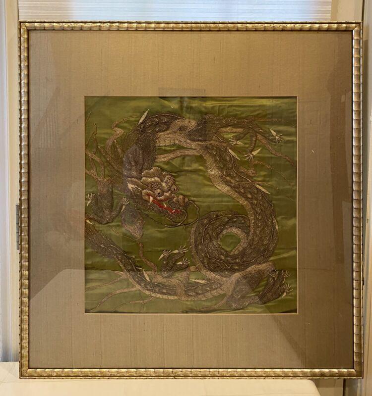 Japanese Golden Dragon Embroidery, Meiji Period