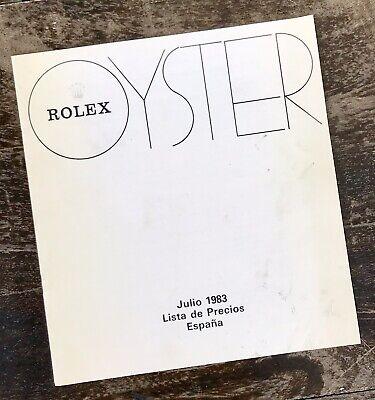ROLEX Vintage 1983 Price List 1655 1665 16750 16800 5513 6263 6265 1016 1019 OEM