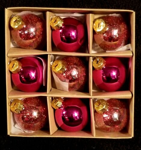 Pink Mercury Glass & Red Sequin Valentine Ornaments - NIB