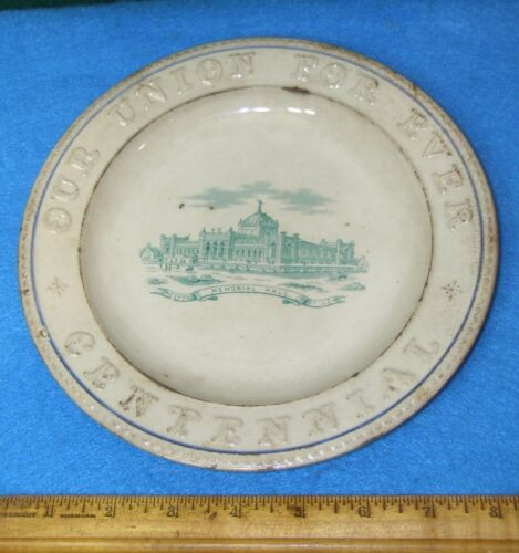 "1776 1876 CENTENNIAL 8"" PLATE  Green Memorial Hall OUR UNION FOR EVER"