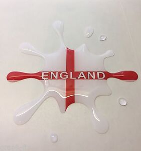 St Georges Flag with England wording Dome Gel look Splat Sticker Rugby Football